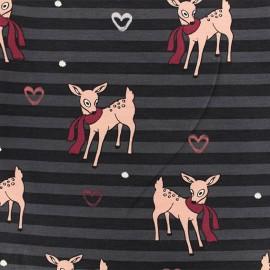 Jersey fabric - Black Bambi x 10cm