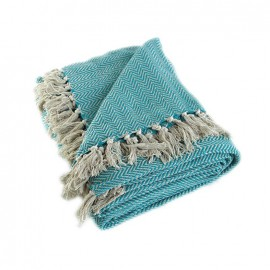 Recycled Cotton Blanket - Turquoise Goa
