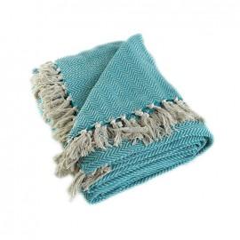 Recycled Cotton Blanket - Turquoise Goa