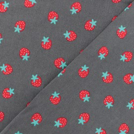 Poplin fabric - Grey Strawberry x 10cm