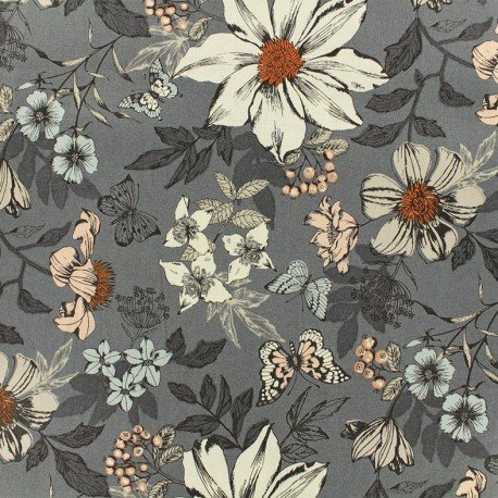 Makower UK cotton fabric - Grey Exotic flower x 10cm