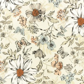 Makower UK cotton fabric - Cream Exotic flower x 10cm