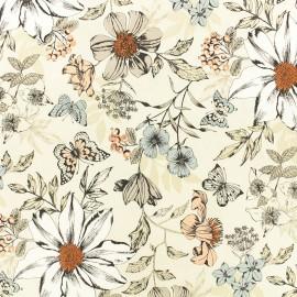Tissu coton Makower UK Exotic flower - écru x 10cm