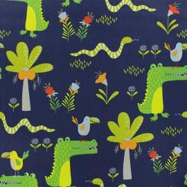 Tissu coton Jungle Amazonienne - Bleu x 10cm