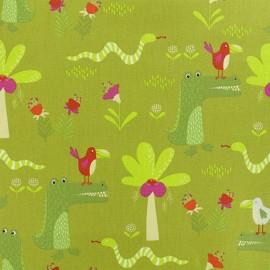 Tissu coton Jungle Amazonienne - vert x 10cm