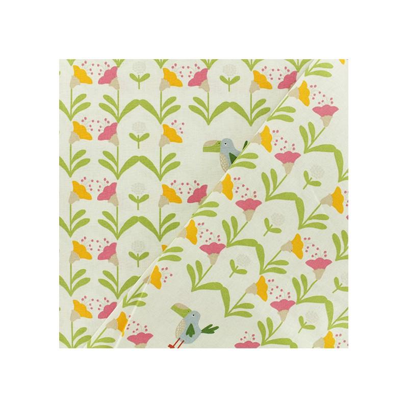 tissu coton jardin tropical blanc. Black Bedroom Furniture Sets. Home Design Ideas