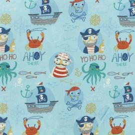 Tissu coton Pirates - bleu x 10cm
