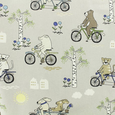 Cotton fabric - Grey Tandem x 10cm