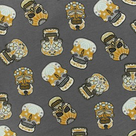 Tissu jersey Bohemian skull - gris foncé x 10cm