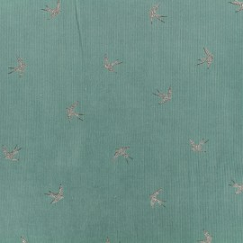 Milleraies velvet fabric Swallow - Green x10cm