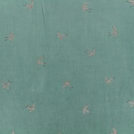 Tissu velours milleraies Swallow - vert x 10cm