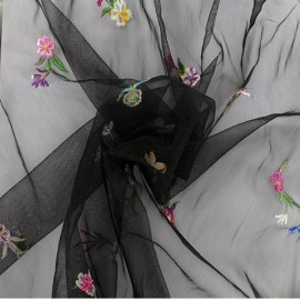 Embroidered tulle fabric - black Edelweiss x 10 cm