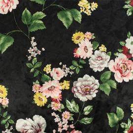 Strucked Elastane velvet fabric - Black Annette x 10cm