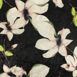 Strucked Elastane velvet fabric - Black Aurora x 10cm