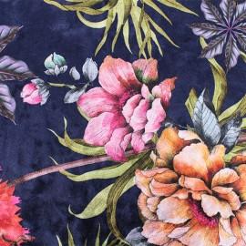 Strucked Elastane velvet fabric - Blue April x 10cm
