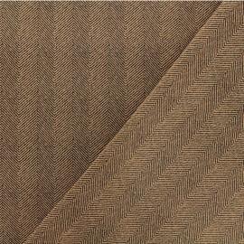 ♥ Only one piece 230 cm X 145 cm ♥ Neoprene scuba fabric - Brown Herringbone