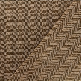 Neoprene scuba fabric - Brown Herringbone x 10cm