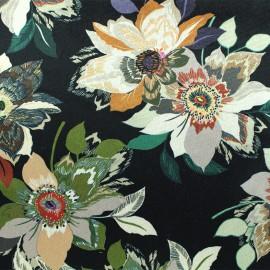 Elastane velvet fabric - black Aliénor x10cm
