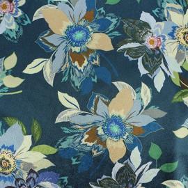 Tissu velours élasthanne Aliénor - bleu x10cm