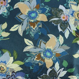 ♥ Only one piece 260 cm X 150 cm ♥ Elastane velvet fabric - blue Aliénor
