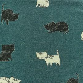 Tissu maille Chaton - paon x 10cm
