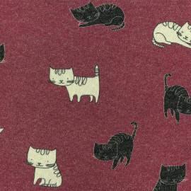 Tissu maille Chaton - Rouge antique x 10cm
