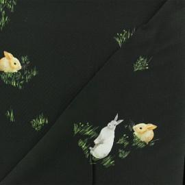 Tissu Viscose lapin curieux - noir x 10cm