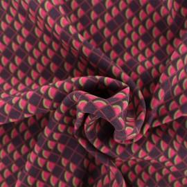 Tissu Viscose écailles rouges - Bordeaux x 10cm