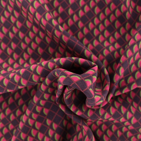 Viscose Fabric - burgundy/red Scales x 10cm