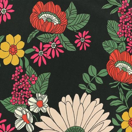 Viscose Fabric - Black Cordoue x 10cm