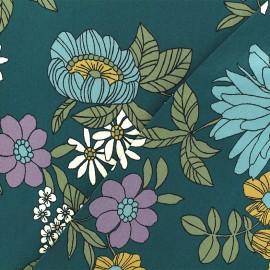 Tissu Viscose Cordoue - Vert paon x 10cm