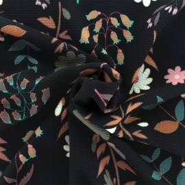 Tissu crêpe Folk flower - Noir x 50cm