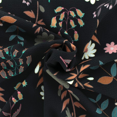 Tissu crêpe Folk flower - Noir