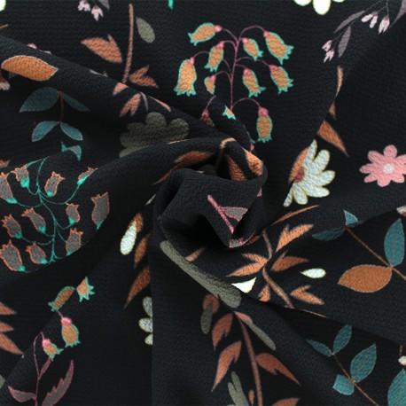 Tissu crêpe Folk flower - Noir x 10cm