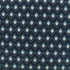 Tissu viscose sergé Graphique - marine/bleu x 10 cm