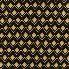 Tissu viscose sergé Graphique - noir/jaune x 10 cm