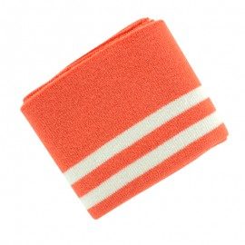 Organic Striped Ribbing Cuffs (110x7cm) - Coral