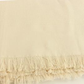 French Cotton Blanket - Ecru Montagne Noire