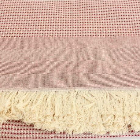 French Cotton Blanket - Red Montagne Noire