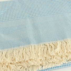 French Cotton Blanket - Blue Montagne Noire