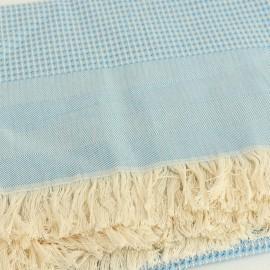 Plaid Coton Montagne Noire - Bleu