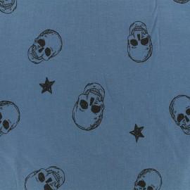 Jersey fabric - Blue Rock'n skull x 10cm