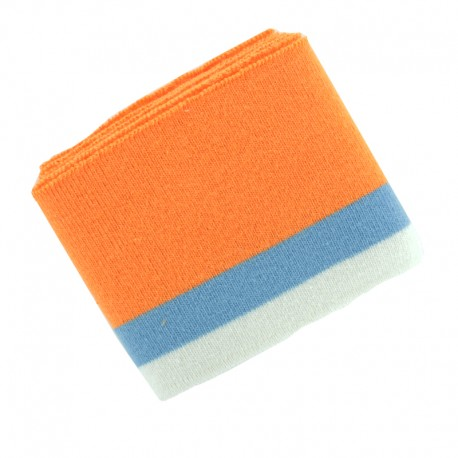 Organic Striped Ribbing Cuffs (110x7cm) - Orange/Blue