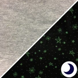 Phosphorescent Jersey Fabric - Grey Starry sky x 10cm