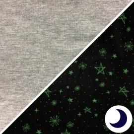 Tissu Jersey Phosphorescent Ciel étoilé - gris x 10cm