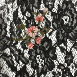 Lace Fabric - Black/red embroidered Luisa x 10cm