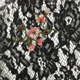 Tissu Dentelle Luisa brodé - noir/rouge x 10cm