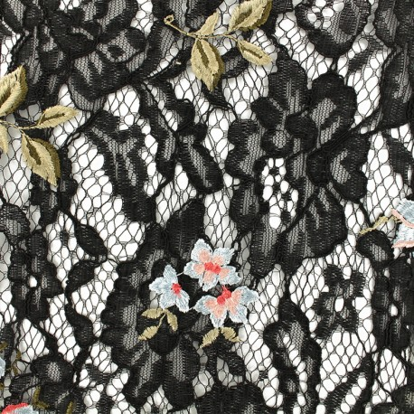 Lace Fabric - Black/blue embroidered Luisa x 10cm