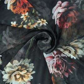 Tissu tulle souple Evita - noir  x 10cm