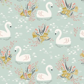 Cotton Dashwood fabric - Mint Swan lake x 10cm